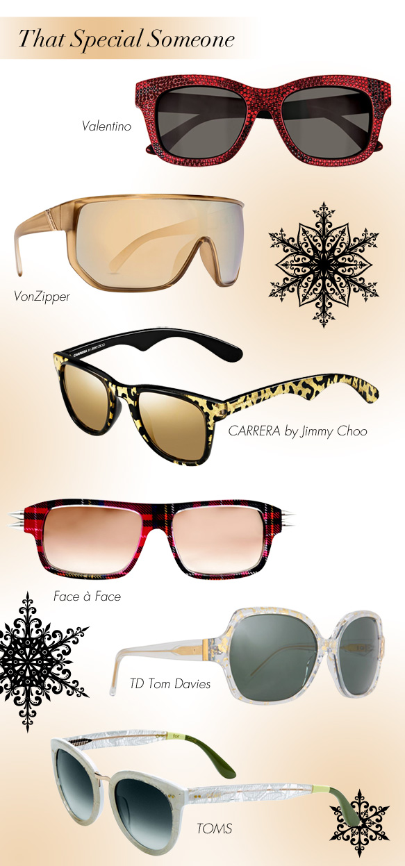 Valentino (V960SR), VonZipper (Bionacle), CARRERA by Jimmy Choo (CA 6000/JC/S), Face a Face (Punk It2), TD Tom Davies (02448), TOMS (Yvette)