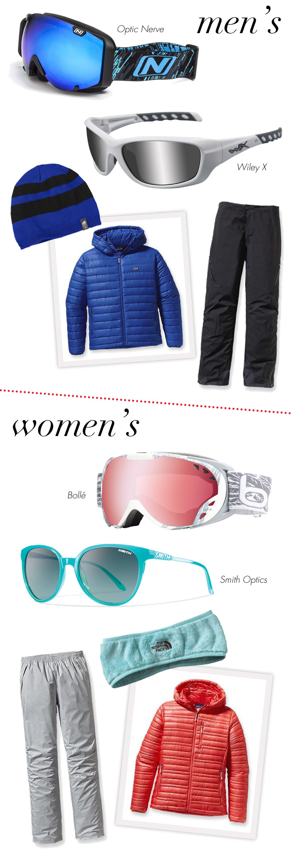 Optic Nerve (Boreas), Wiley X (Gravity), Bollé (Duchess), Smith Optics (Cheetah)