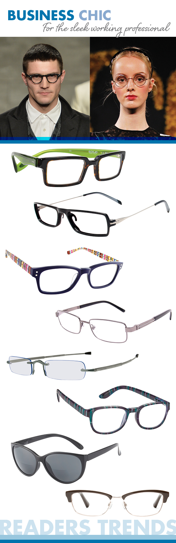 Ogi Eyewear (Montgomery Street), TUMI (Compatto), Corinne McCormack (Edie), Foster Grant (Jagger), Calvin Klein (Collapsible Readers), ICU Eyewear (7386), I Heart Eyewear (Adele), Bobbi Brown (The Village)