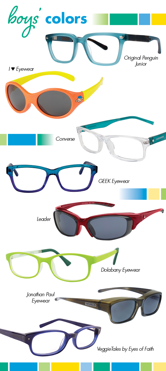 Original Penguin Junior (The Hopper Jr.), I Heart Eyewear (Oli), Converse (K011), GEEK Eyewear (Mentor), Leader (Style Element Jr.), Dolabany Eyewear (President), Jonathan Paul Eyewear (CH003), VeggieTales by Eyes of Faith (3015)