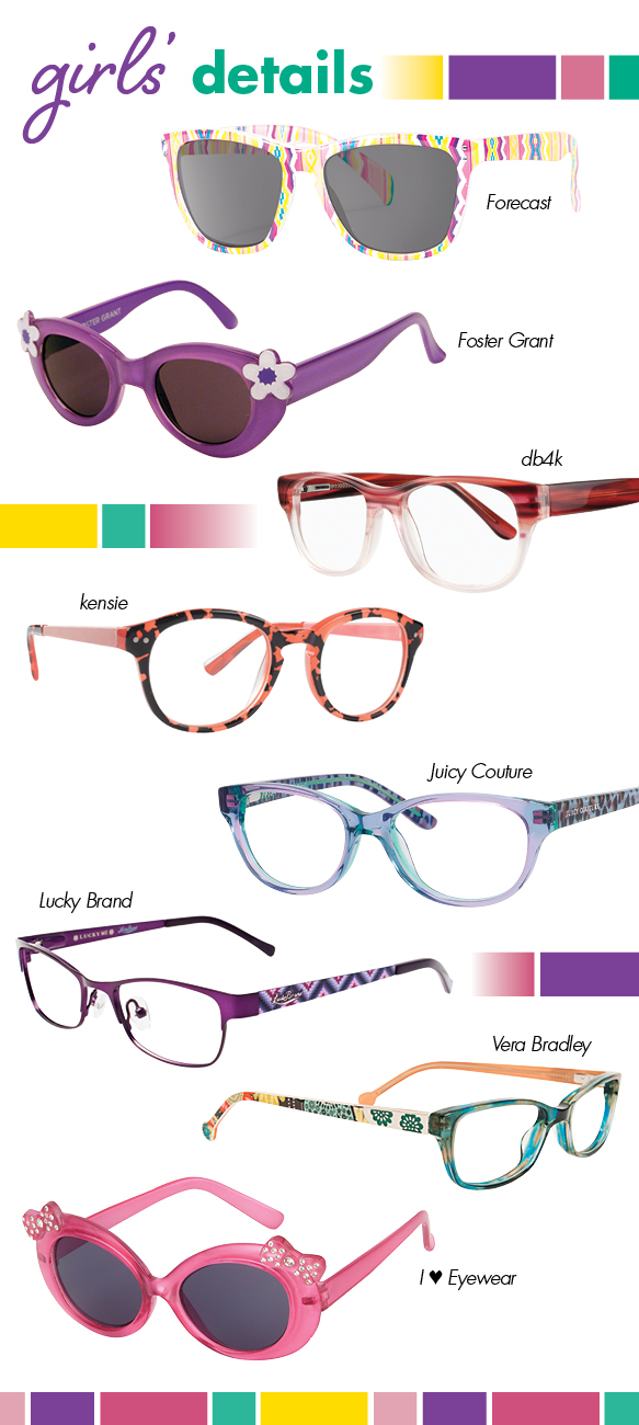 Forecast (Wander), Foster Grant (Calla), db4k (Drama Queen), kensie (Jump), Juicy Couture (JU 913), Lucky Brand (Wiggle), Vera Bradley (Ada), I Heart Eyewear (Ari)