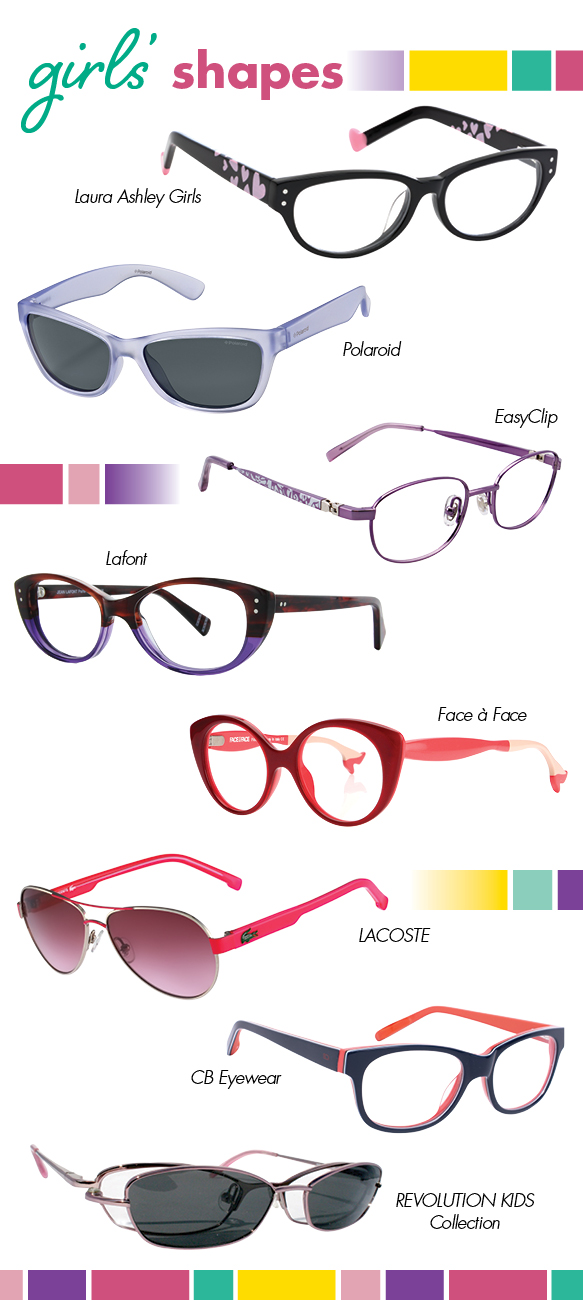 Laura Ashley Girls (Adorable), Polaroid (P0422S), EasyClip (EC329), Lafont (OLYMPE), Face a Face (Little Bocca2), LACOSTE (3103S), CB Eyewear (Sophia), REVOLUTION KIDS Collection (REK2031)