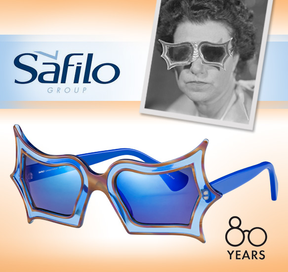 Peggy Guggenhiem in her glasses designed for her by Edward Melcarth in the 1950s, Safilo's Peggy Guggenheim limited edition frames