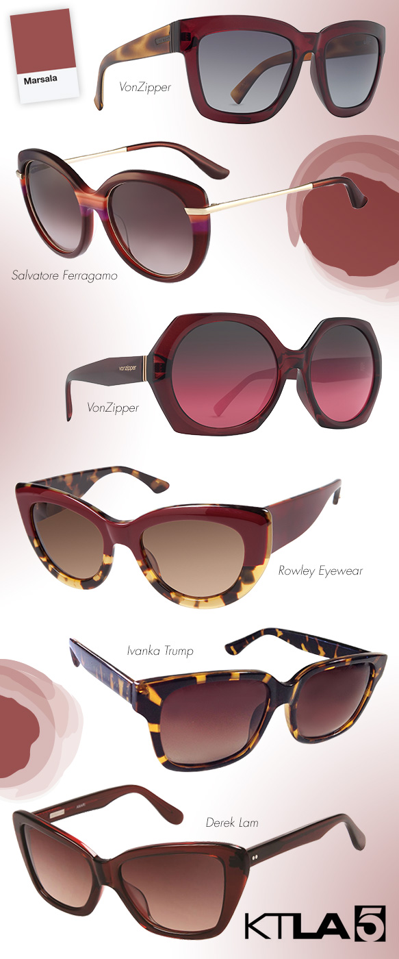 VonZipper (Juice), Salvatore Ferragamo (SF724S), VonZipper (Buelah), Rowley Eyewear (Miss Z), Ivanka Trump (IT 702A), Derek Lam (Amari)