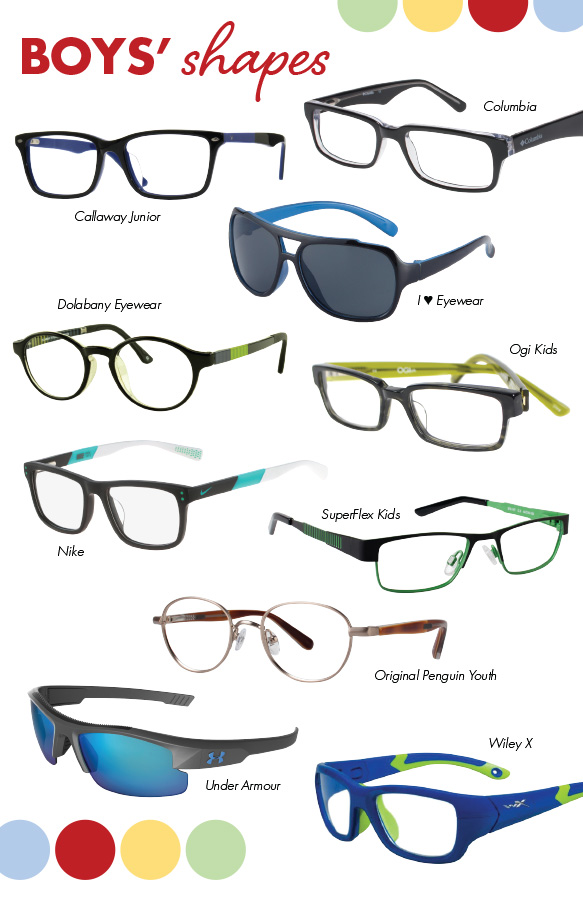 Callaway Junior (Fly), Columbia (Riggs Creek), Dolabany Eyewear (Inventor), I Heart Eyewear (Hai), Nike (5536), Ogi Kids (OK307), Original Penguin Youth (The Teddy Jr.), SuperFlex Kids (SKF-147), Under Armour (NITRO I), YOUTH FORCE (FLASH)
