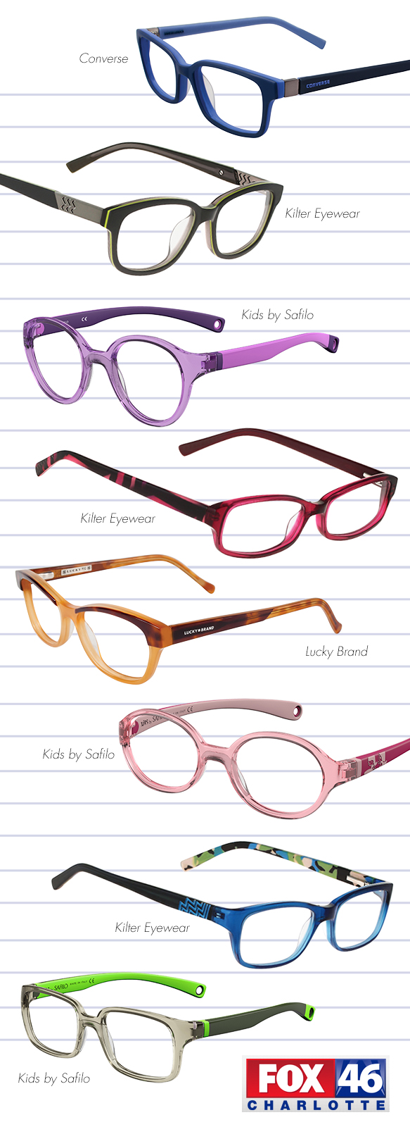 Converse (K020), Kilter Eyewear (K4006), Kids by Safilo (SA0006), Kilter Eyewear (K5005), Lucky Brand (D702), Kids by Safilo (SA0004), Kilter Eyewear (K4003), Kids by Safilo (SA0005)