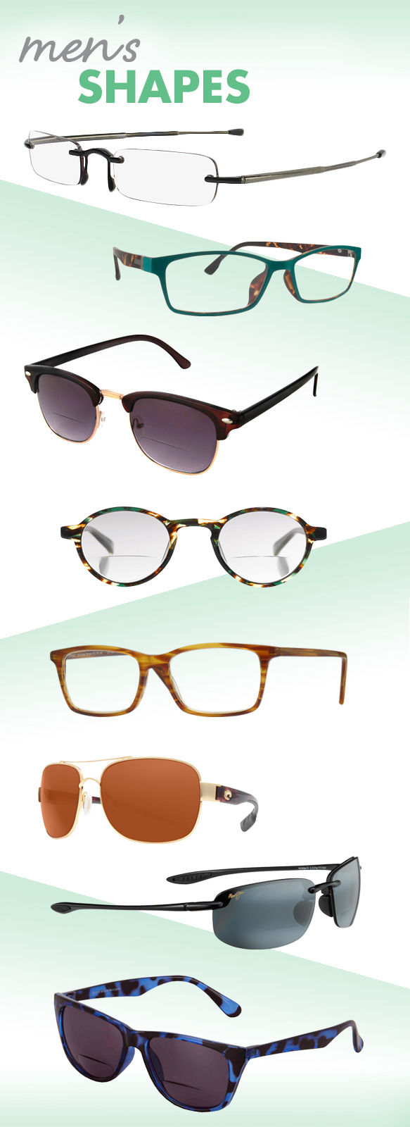 Calvin Klein Collection (CKCR1E Readers), Cinzia (Focus), Desert Sunglass of Scottsdale (SR18273), eyebobs (Board Stiff), INvue (Anchorage), Costa Sunglasses C-Mates (Cocos), Maui Jim (Ho'Okipa), I Heart Eyewear (Charlie)